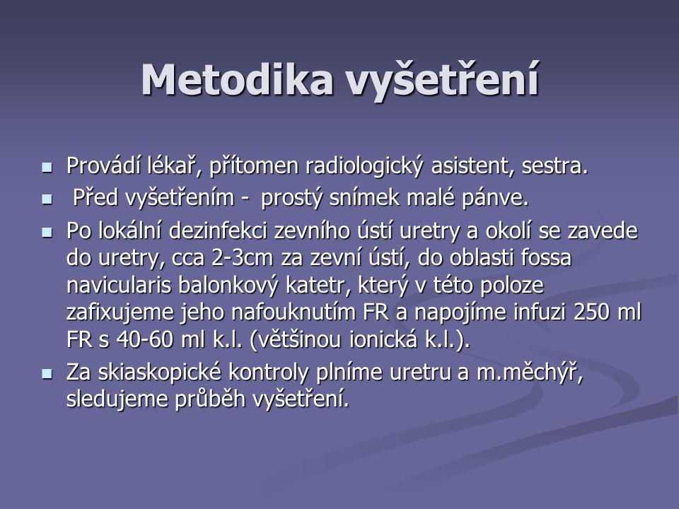 Metodika vyšetření Provádí lékař, přítomen radiologický asistent, sestra. Před vyšetřením - prostý snímek malé pánve.