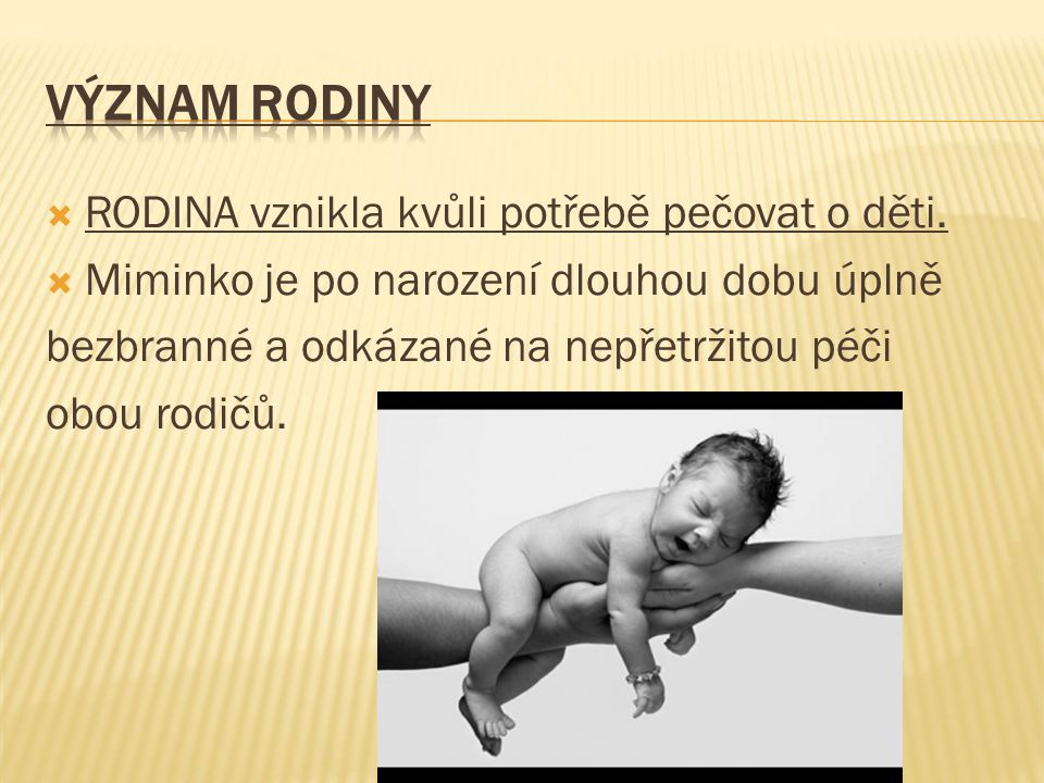 VÝZNAM RODINY RODINA vznikla kvůli potřebě pečovat o děti.
