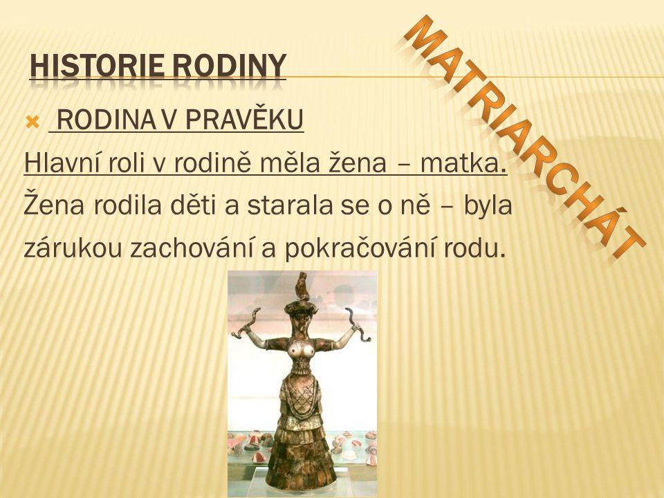 matriarchát HISTORIE RODINY RODINA V PRAVĚKU