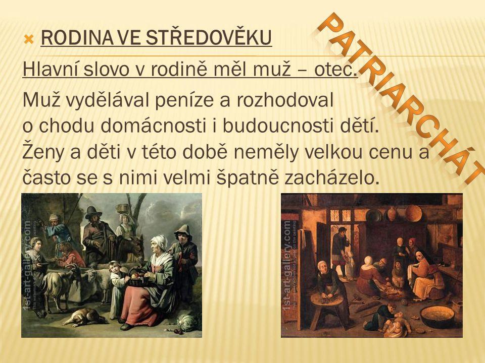 Patriarchát RODINA VE STŘEDOVĚKU Hlavní slovo v rodině měl muž – otec.