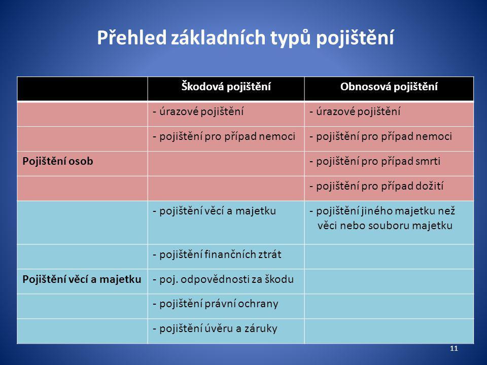 Přehled základních typů pojištění