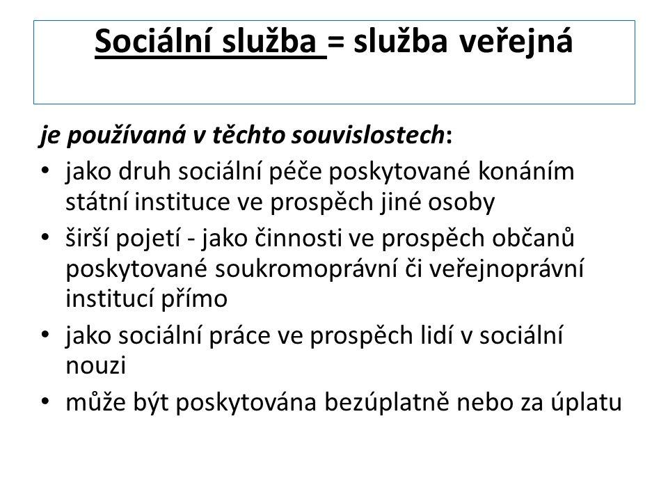 Sociální služba = služba veřejná