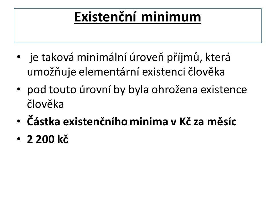 Existenční minimum je taková minimální úroveň příjmů, která umožňuje elementární existenci člověka.