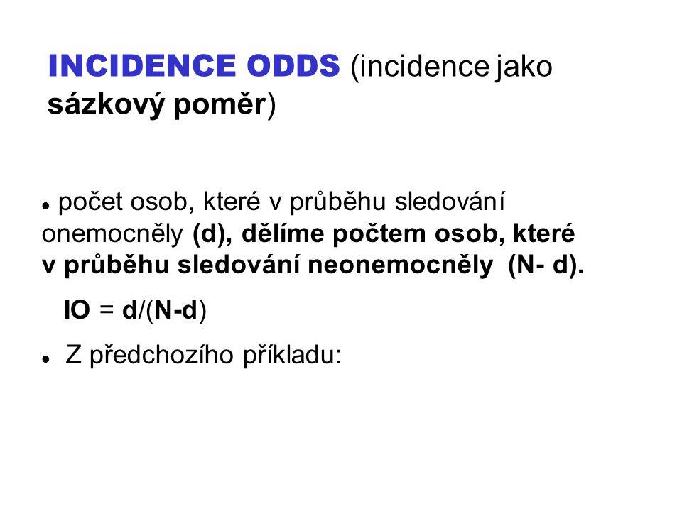INCIDENCE ODDS (incidence jako sázkový poměr)