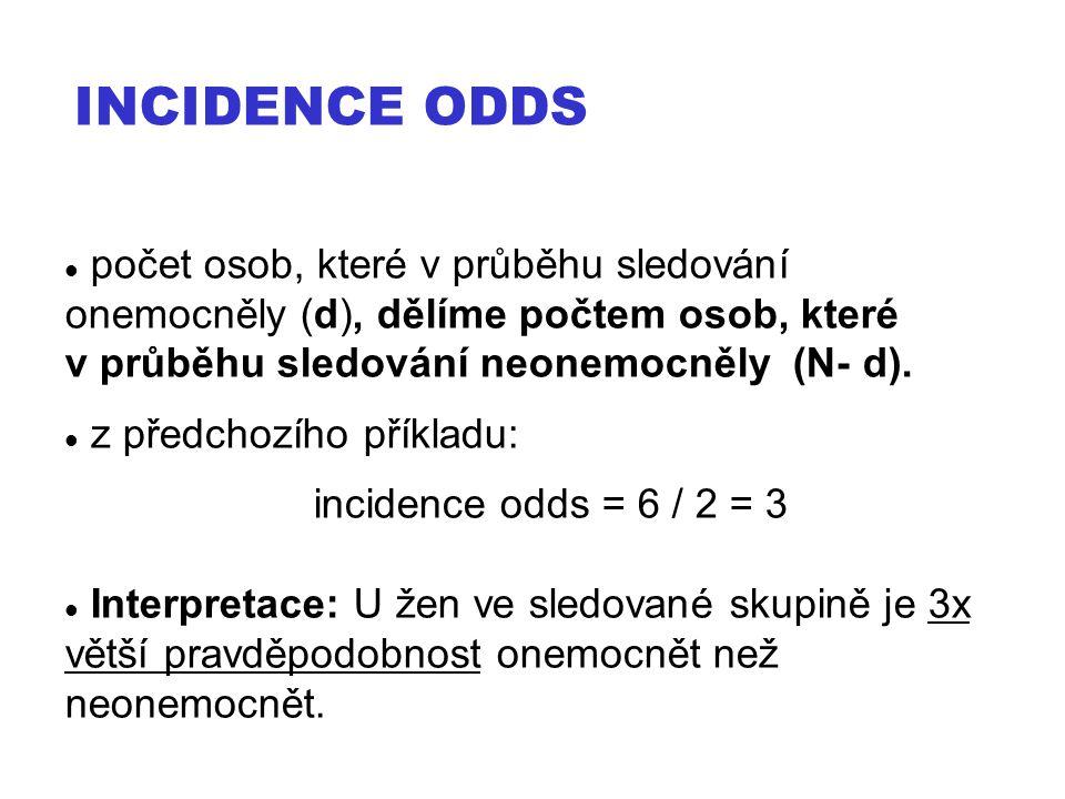 Incidence ODDS počet osob, které v průběhu sledování onemocněly (d), dělíme počtem osob, které v průběhu sledování neonemocněly (N- d).