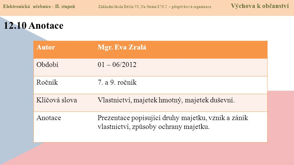 12.10 Anotace Autor Mgr. Eva Zralá Období 01 – 06/2012 Ročník