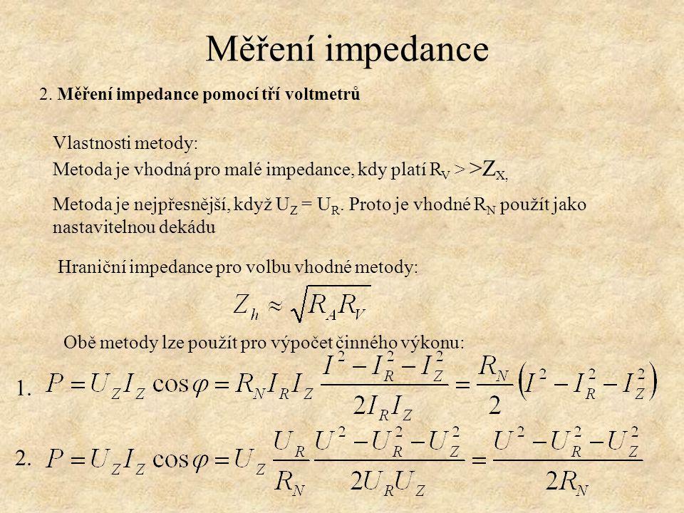 Měření impedance 2. Měření impedance pomocí tří voltmetrů 1. 2.