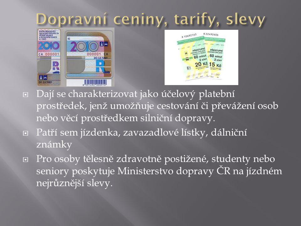 Dopravní ceniny, tarify, slevy