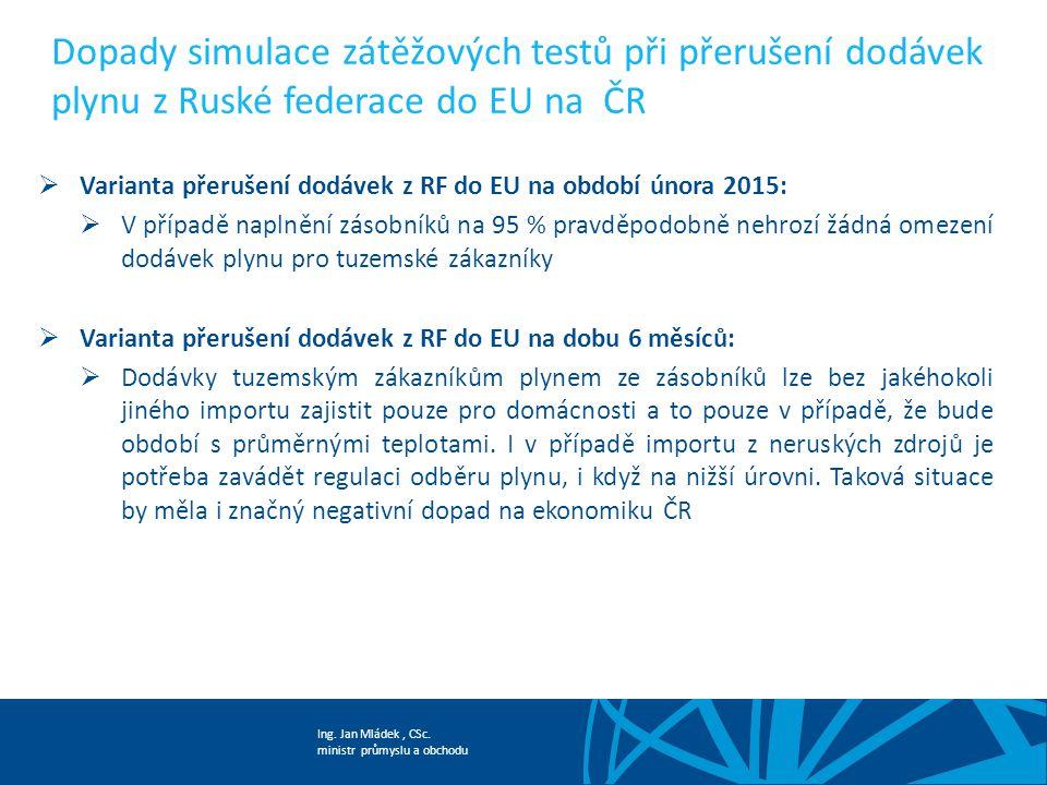 Dopady simulace zátěžových testů při přerušení dodávek plynu z Ruské federace do EU na ČR