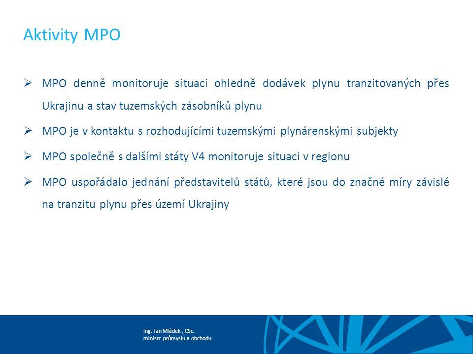 Aktivity MPO MPO denně monitoruje situaci ohledně dodávek plynu tranzitovaných přes Ukrajinu a stav tuzemských zásobníků plynu.