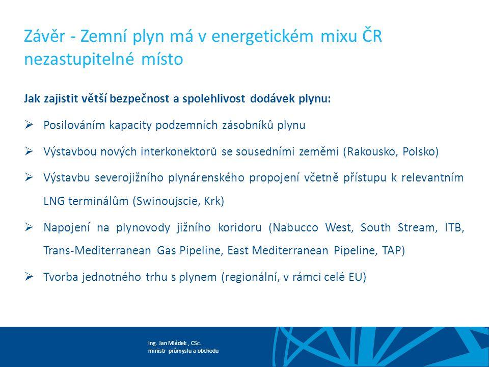 Závěr - Zemní plyn má v energetickém mixu ČR nezastupitelné místo