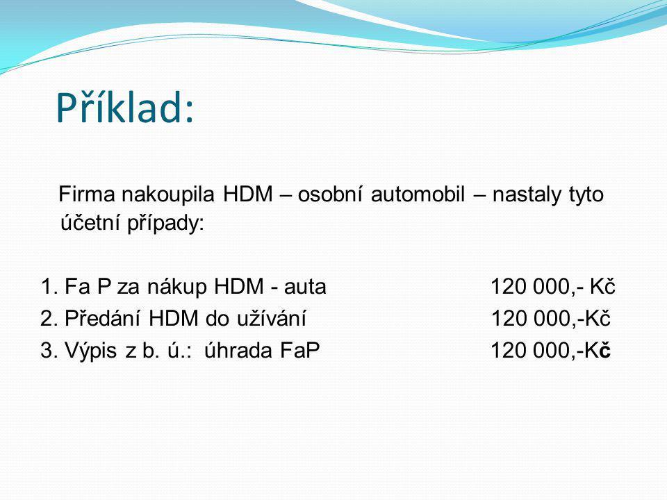 Příklad: Firma nakoupila HDM – osobní automobil – nastaly tyto účetní případy: 1. Fa P za nákup HDM - auta 120 000,- Kč.