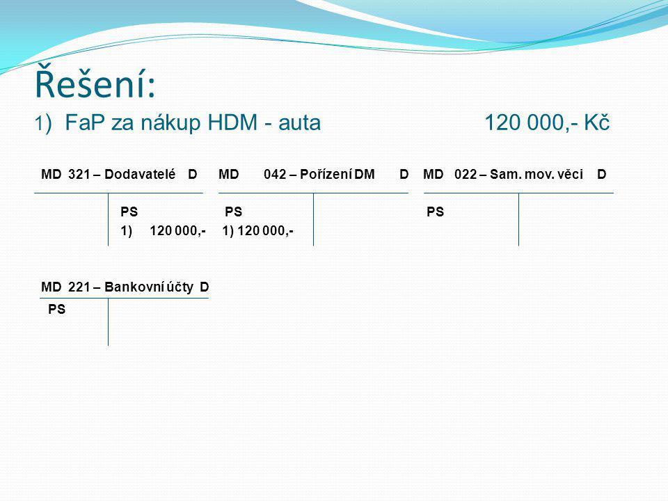 Řešení: 1) FaP za nákup HDM - auta 120 000,- Kč