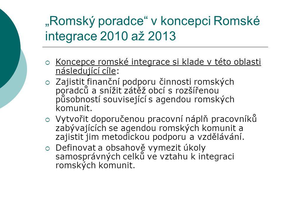 """""""Romský poradce v koncepci Romské integrace 2010 až 2013"""
