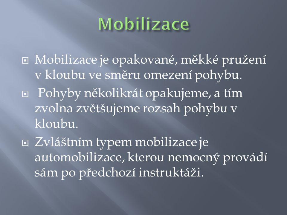 Mobilizace Mobilizace je opakované, měkké pružení v kloubu ve směru omezení pohybu.