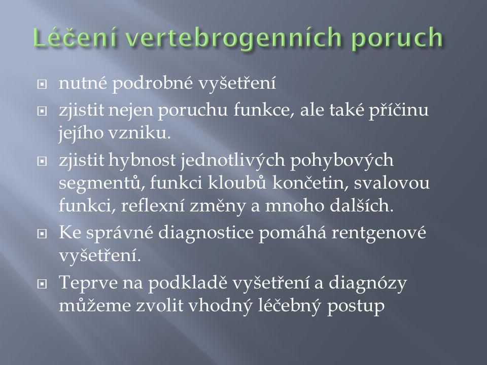 Léčení vertebrogenních poruch