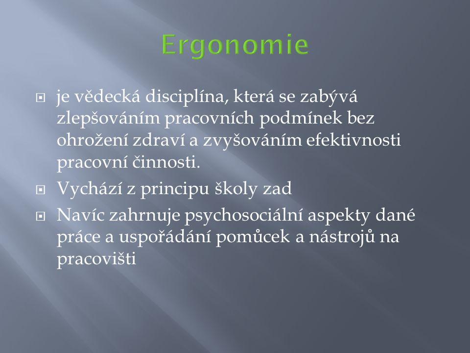 Ergonomie je vědecká disciplína, která se zabývá zlepšováním pracovních podmínek bez ohrožení zdraví a zvyšováním efektivnosti pracovní činnosti.