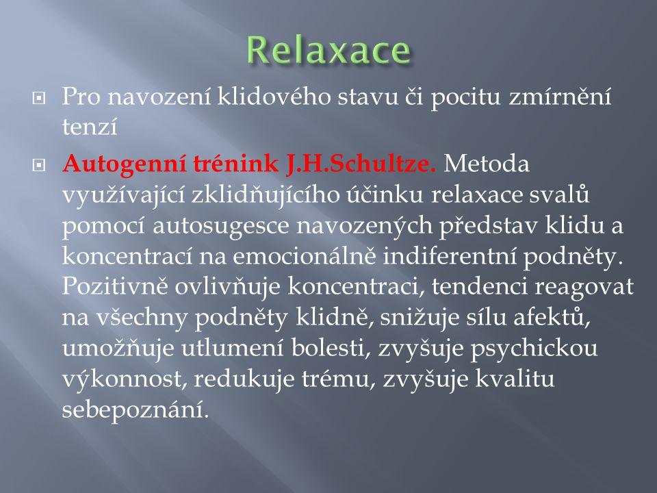 Relaxace Pro navození klidového stavu či pocitu zmírnění tenzí