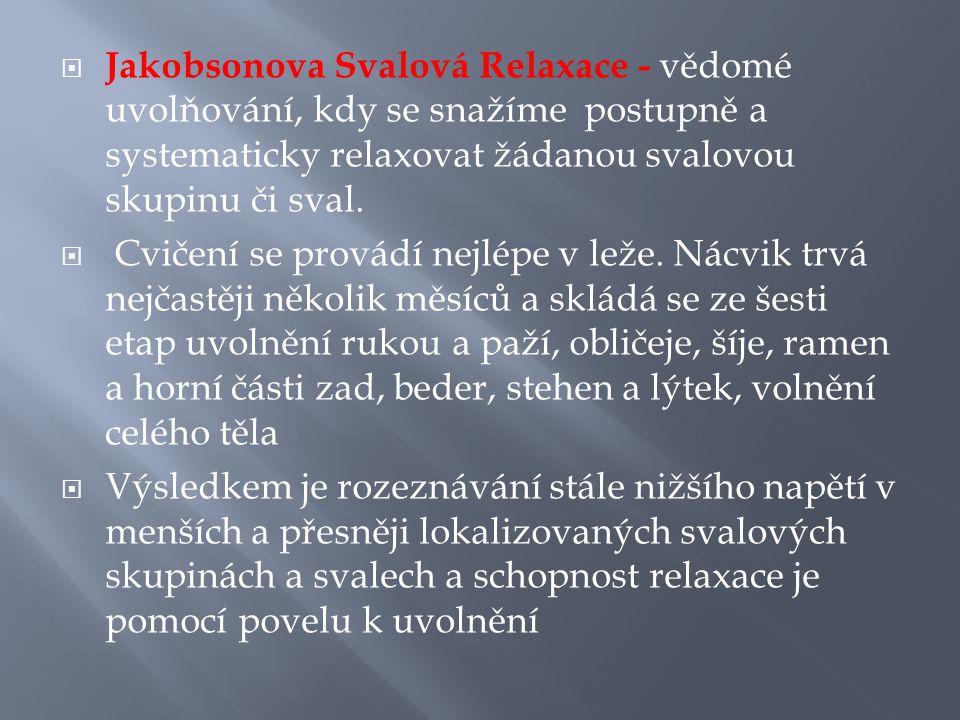 Jakobsonova Svalová Relaxace - vědomé uvolňování, kdy se snažíme postupně a systematicky relaxovat žádanou svalovou skupinu či sval.