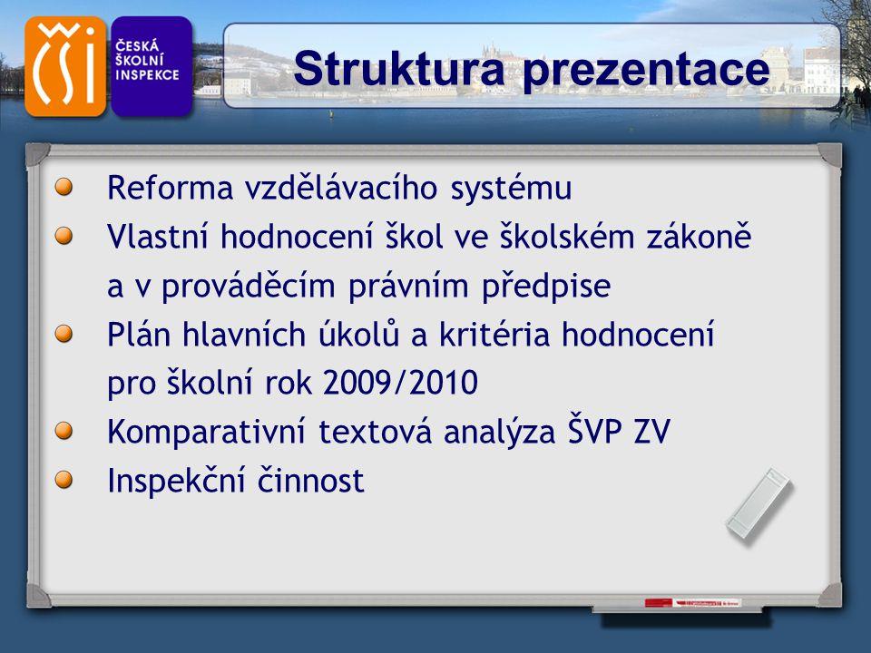 Struktura prezentace Reforma vzdělávacího systému