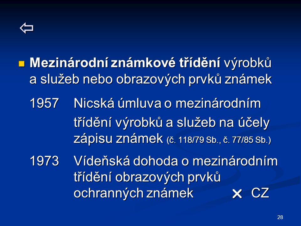  Mezinárodní známkové třídění výrobků a služeb nebo obrazových prvků známek. 1957 Nicská úmluva o mezinárodním.