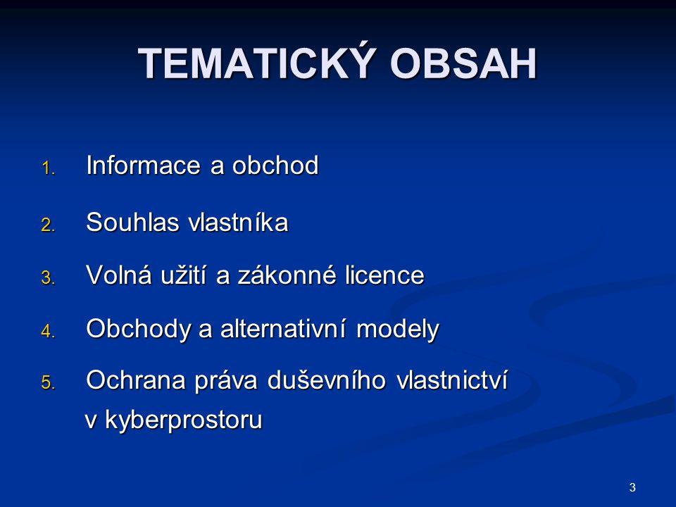 TEMATICKÝ OBSAH Informace a obchod Souhlas vlastníka