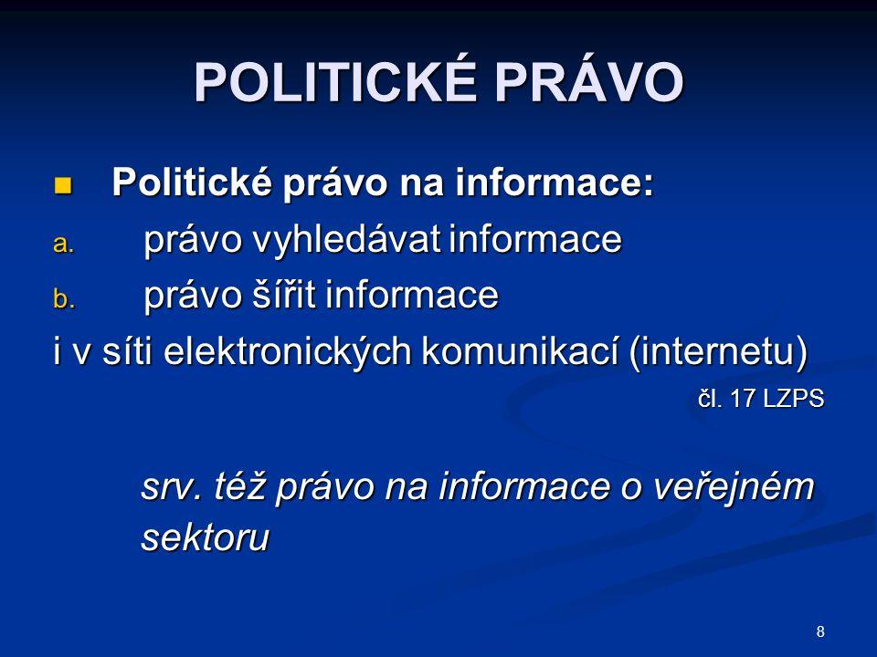 POLITICKÉ PRÁVO Politické právo na informace: