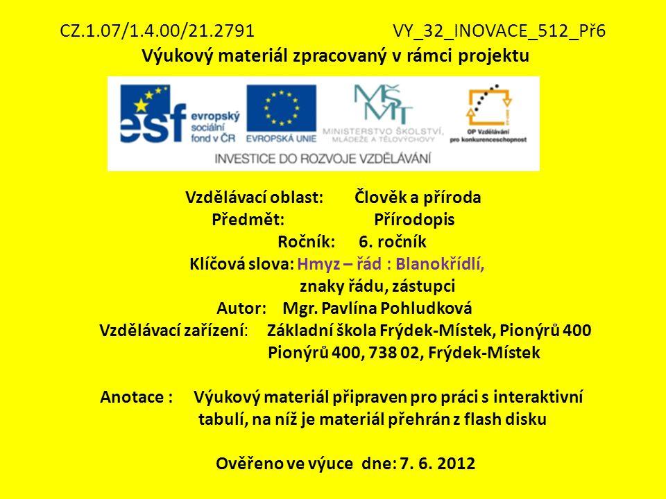 CZ.1.07/1.4.00/21.2791 VY_32_INOVACE_512_Př6 Výukový materiál zpracovaný v rámci projektu