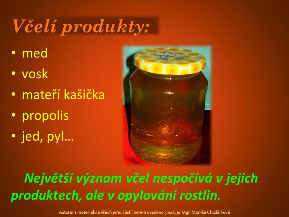 Včelí produkty: med vosk mateří kašička propolis jed, pyl…