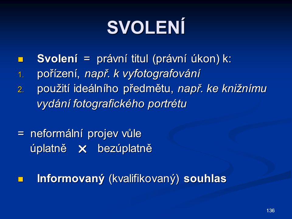 SVOLENÍ Svolení = právní titul (právní úkon) k: