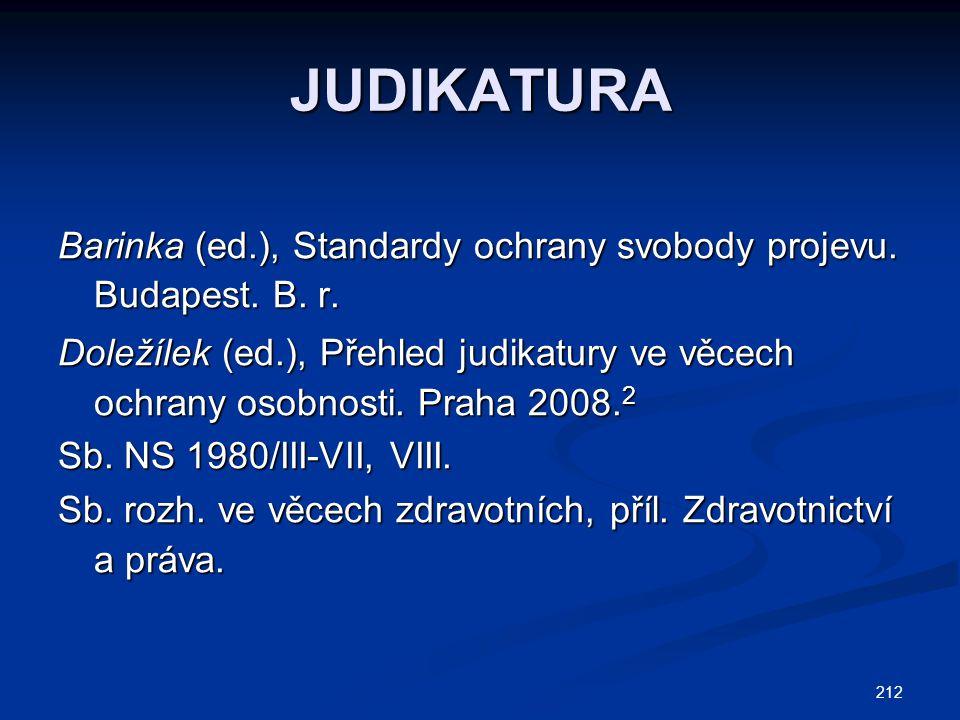 JUDIKATURA Barinka (ed.), Standardy ochrany svobody projevu. Budapest. B. r.