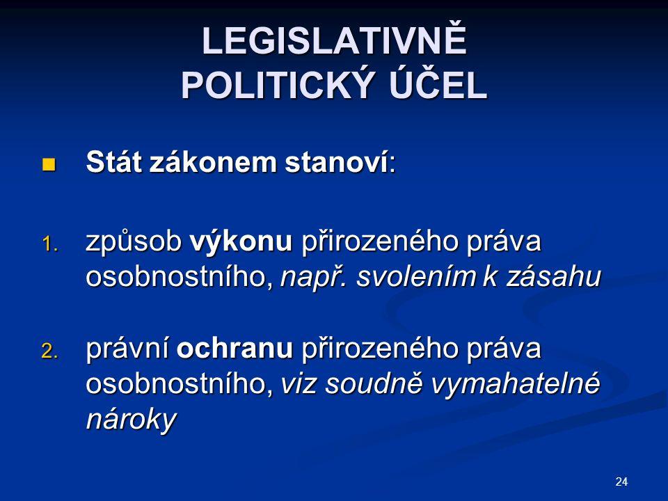 LEGISLATIVNĚ POLITICKÝ ÚČEL