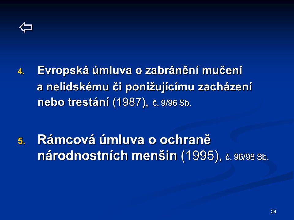  Rámcová úmluva o ochraně národnostních menšin (1995), č. 96/98 Sb.