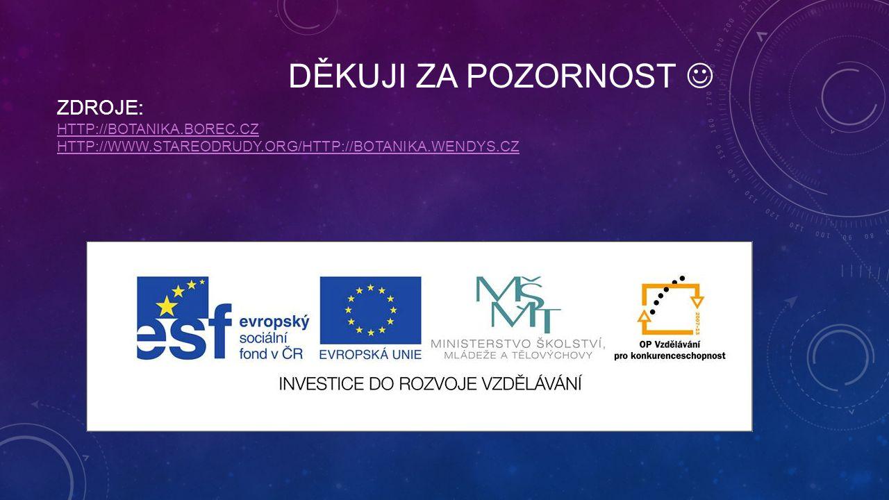 Děkuji za pozornost  Zdroje: http://botanika. borec. cz http://www
