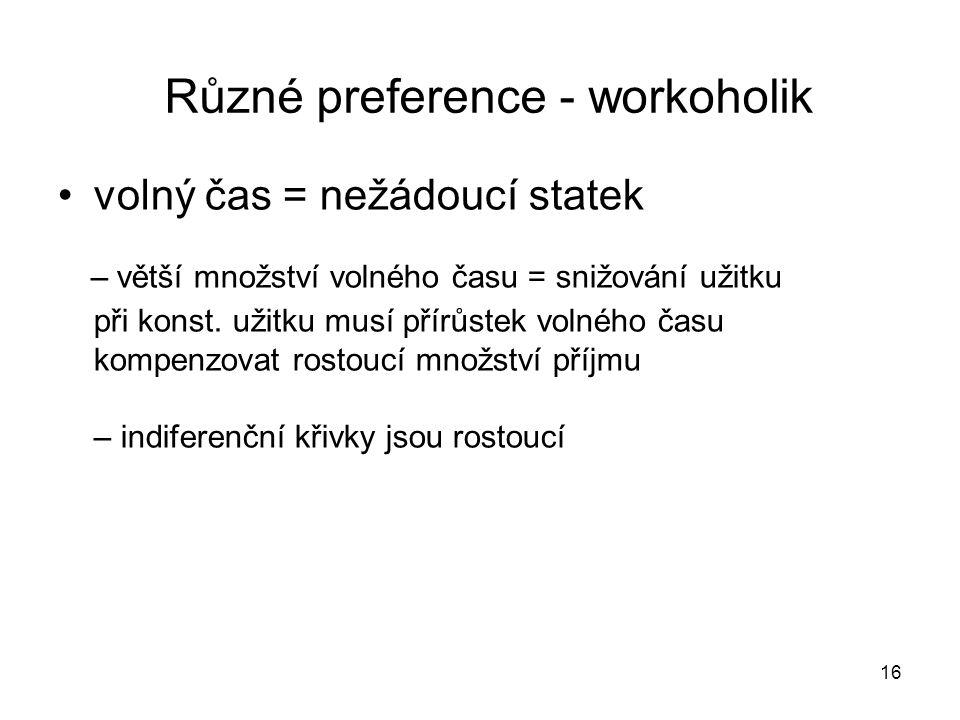 Různé preference - workoholik