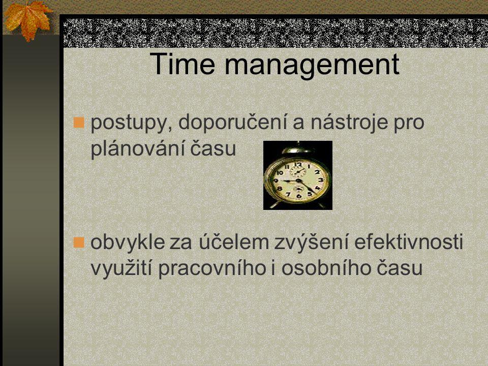 Time management postupy, doporučení a nástroje pro plánování času