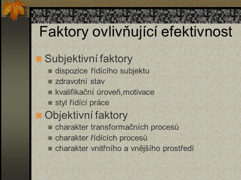 Faktory ovlivňující efektivnost