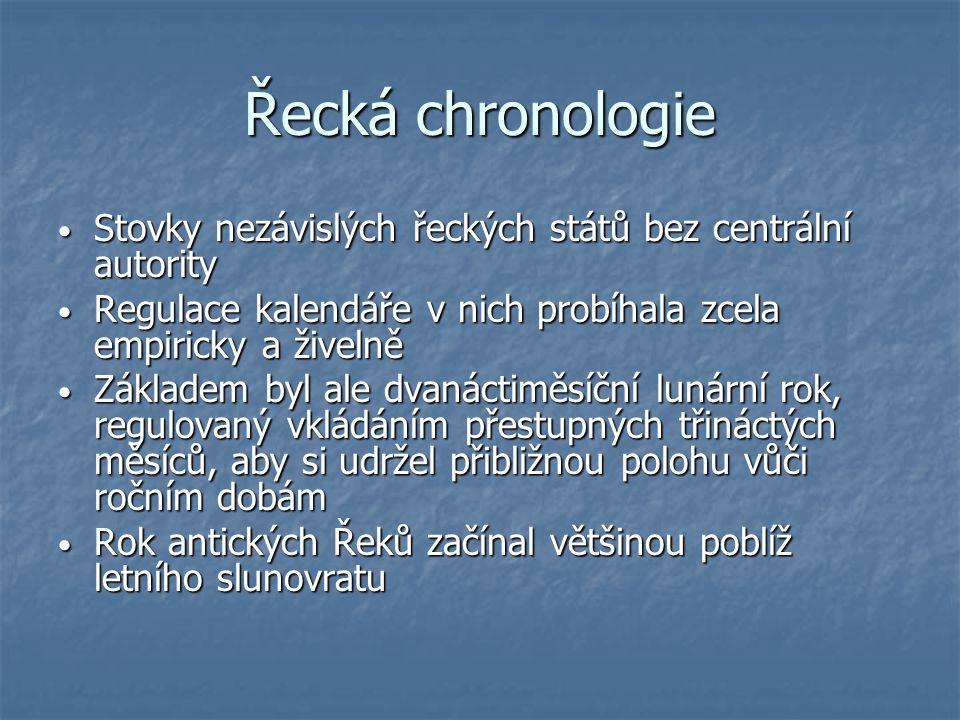 Řecká chronologie Stovky nezávislých řeckých států bez centrální autority. Regulace kalendáře v nich probíhala zcela empiricky a živelně.