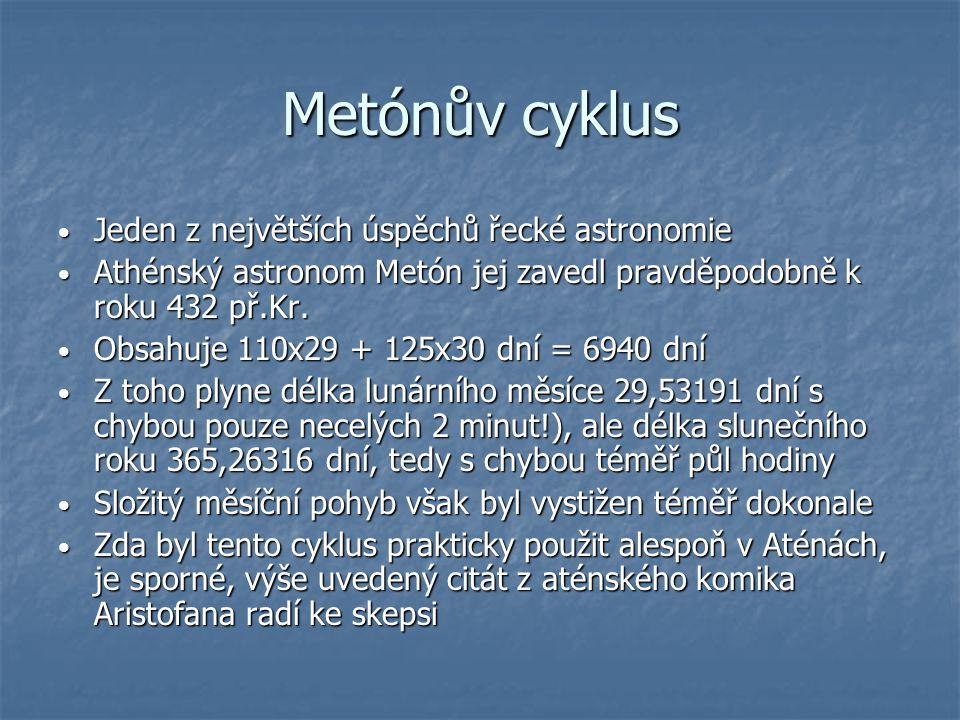 Metónův cyklus Jeden z největších úspěchů řecké astronomie