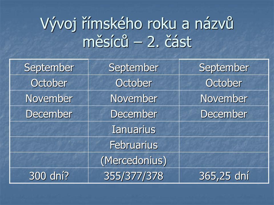 Vývoj římského roku a názvů měsíců – 2. část
