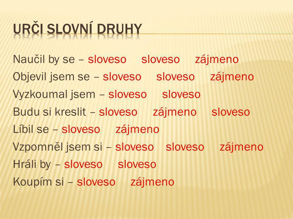 Urči slovní druhy
