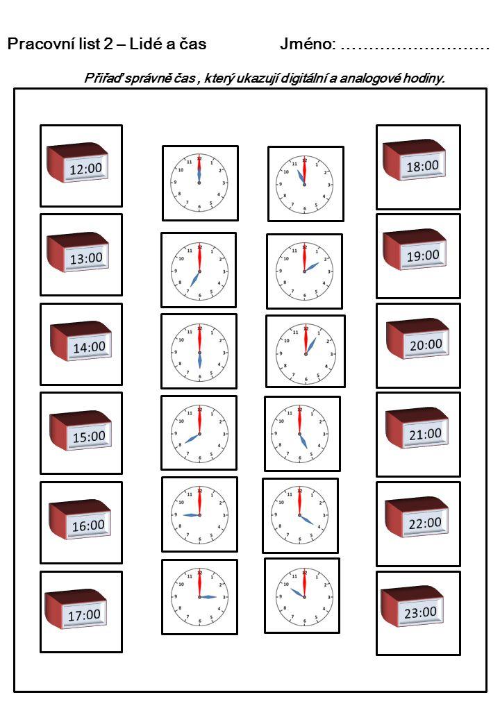 Pracovní list 2 – Lidé a čas Jméno: ………………………