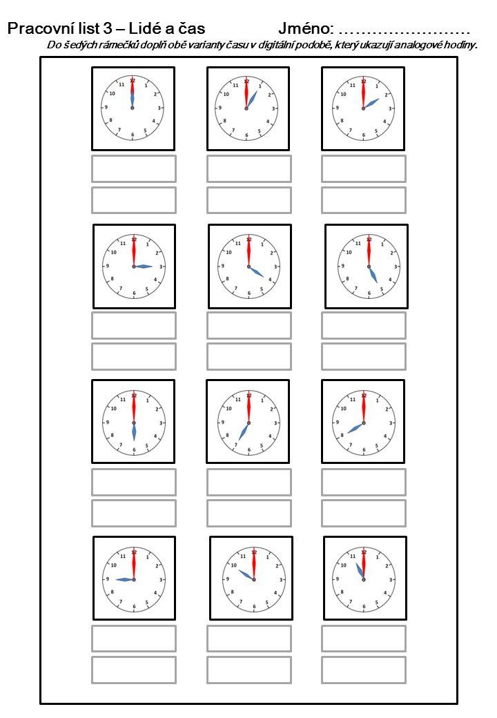 Pracovní list 3 – Lidé a čas Jméno: ……………………