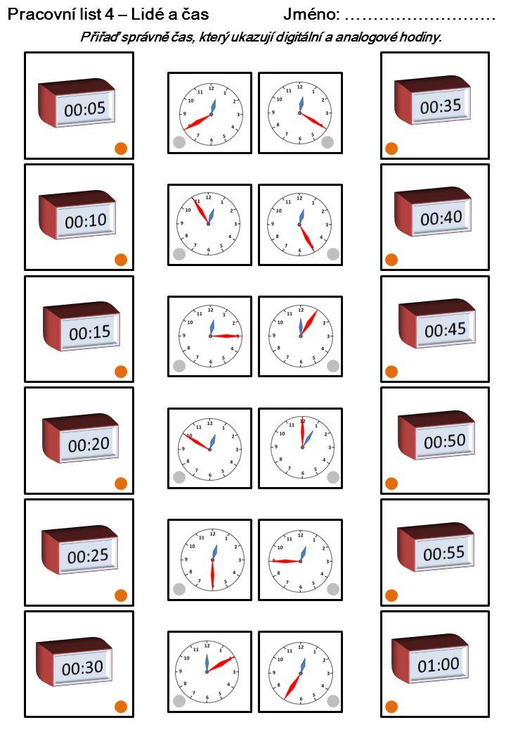 Pracovní list 4 – Lidé a čas Jméno: ………………………