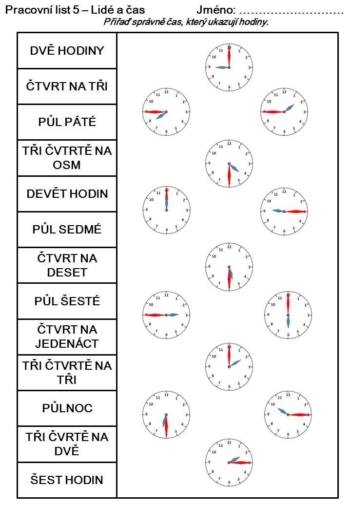 Pracovní list 5 – Lidé a čas Jméno: ………………………