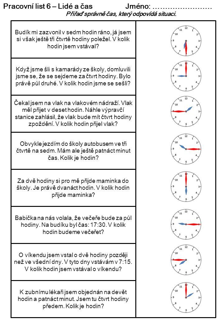 Pracovní list 6 – Lidé a čas Jméno: ……………………