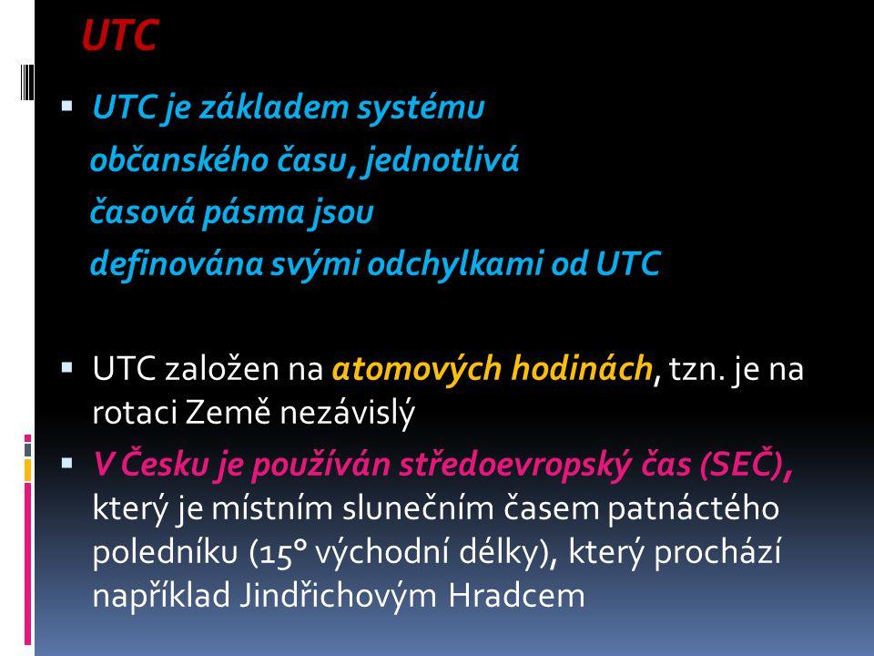UTC UTC je základem systému občanského času, jednotlivá