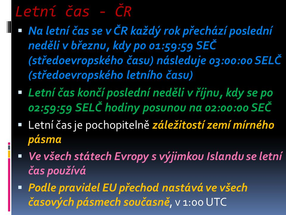 Letní čas - ČR