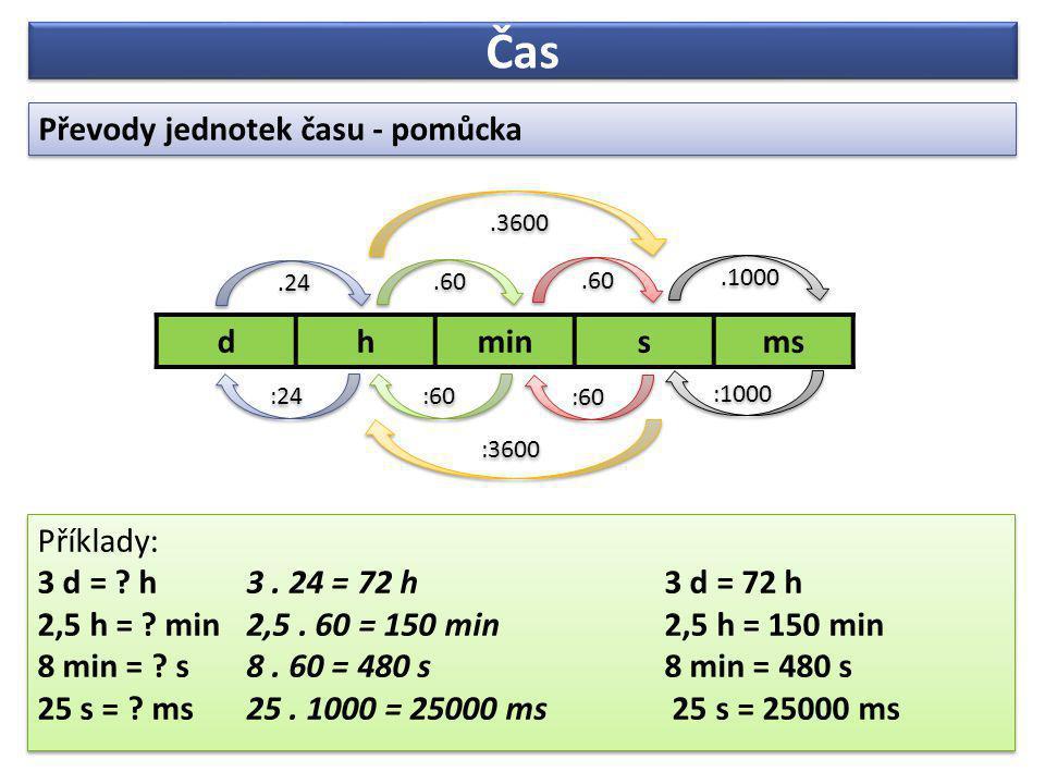 Čas Převody jednotek času - pomůcka d h min s ms Příklady:
