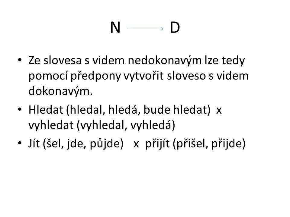 N D Ze slovesa s videm nedokonavým lze tedy pomocí předpony vytvořit sloveso s videm dokonavým.
